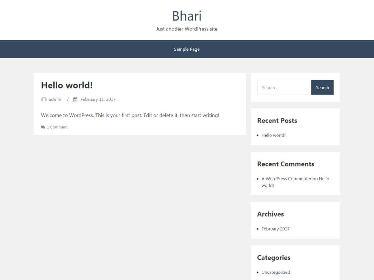 Bhari WordPress theme for the bloggers